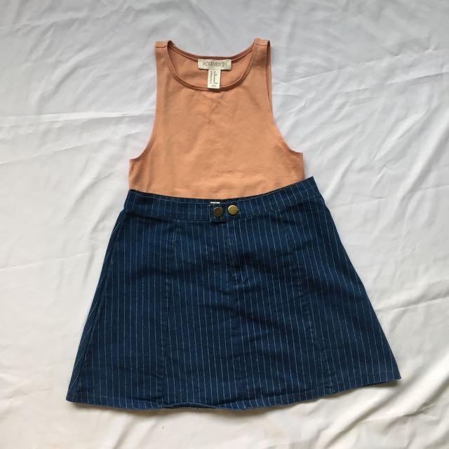 Navy Blue Striped A Line Skirt