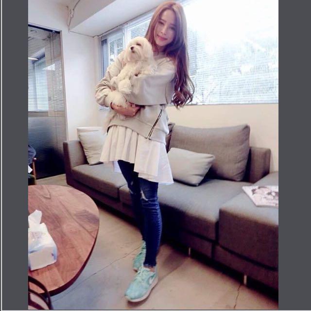 Nikki穿搭款kashin韓國製假兩件休閒洋裝miluku.mihara.lamocha.puree妮媽唐葳小首爾依櫃