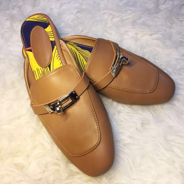 Nude Brown Mules Shoes SIZE 38