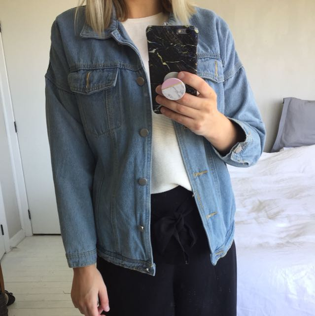 Over sized denim jacket. Ordered it online did it fit me as I thought it would..