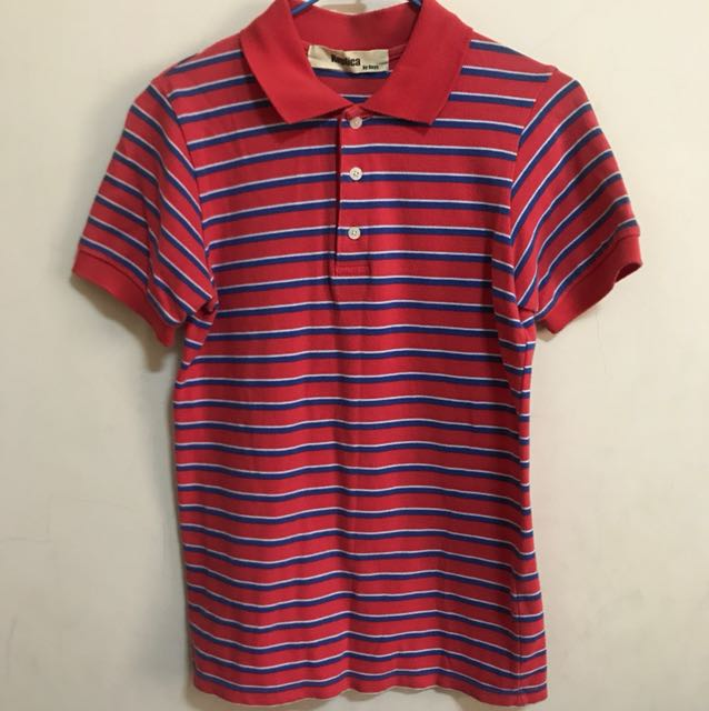 POLO衫-條紋 粉紅/藍/白