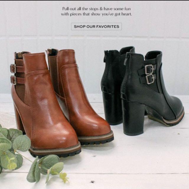 PUFII 側釦環造型側鬆緊粗跟踝靴