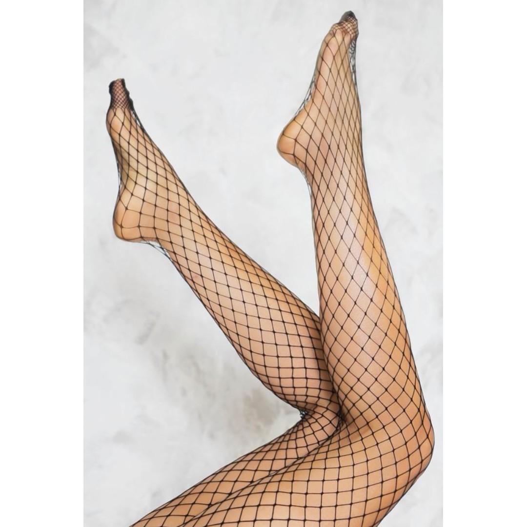 Readystock black fishnet tights leggings