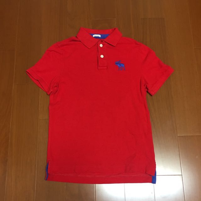 (size M) Abercrombie &Fitch 紅色短袖polo衫