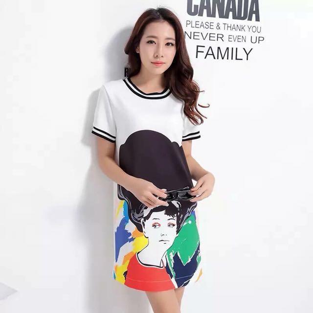💋Splash Abstract 3D Print Tee Shirt Dress