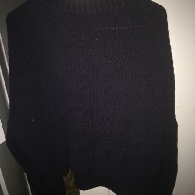 Sportsgirl knit navy high neck sleeve jumper