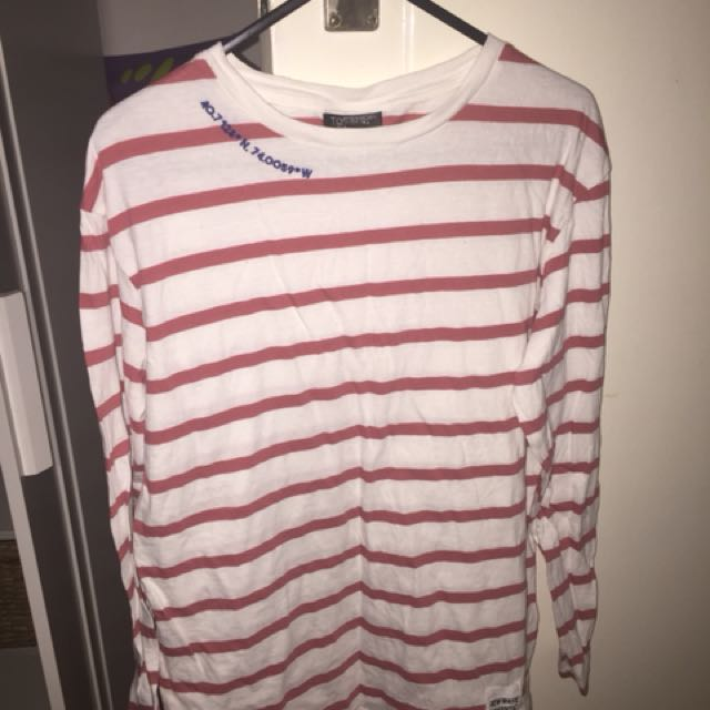 Topshop women's red and white stripe long sleeve top