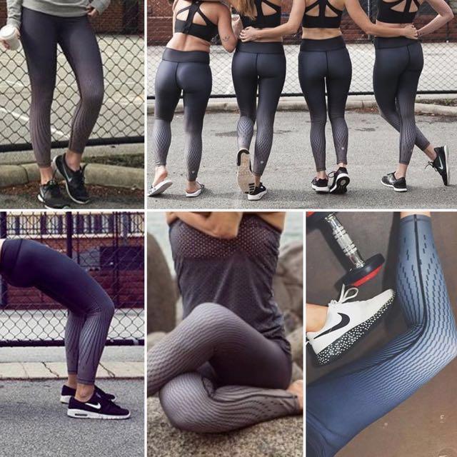 "Vie Active XS 7/8 tights / leggings - GREY ""Tessa Pixel Black"" style - yoga / pilates / activewear"