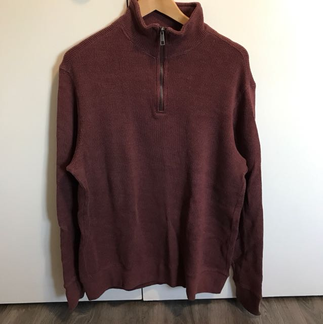Vintage Maroon Zip Up Sweater