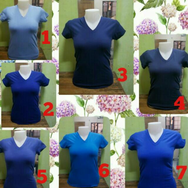 V-neck Shirts For Ladies (Shades Of Blue)