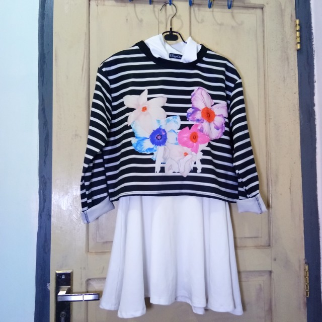 White dress and cotton on stripes blouse