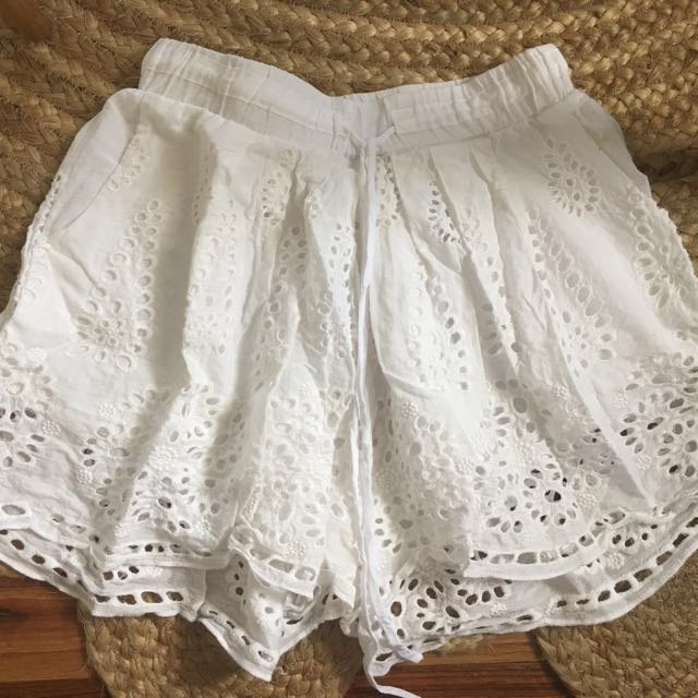 Womens Anglaise Embroidered Broderie S 6 8 White Gypsy Boho Shorts