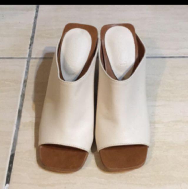 Zara類似款魚口粗跟拖鞋