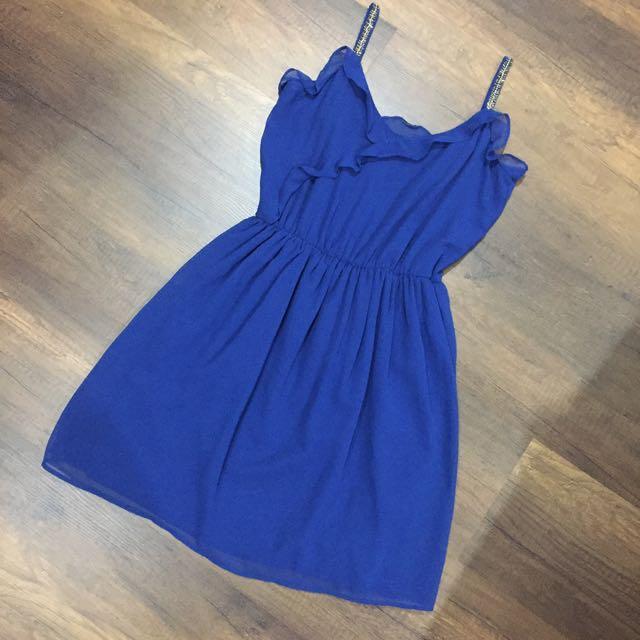 Zara Flowy Blue Embellished Strap Dress