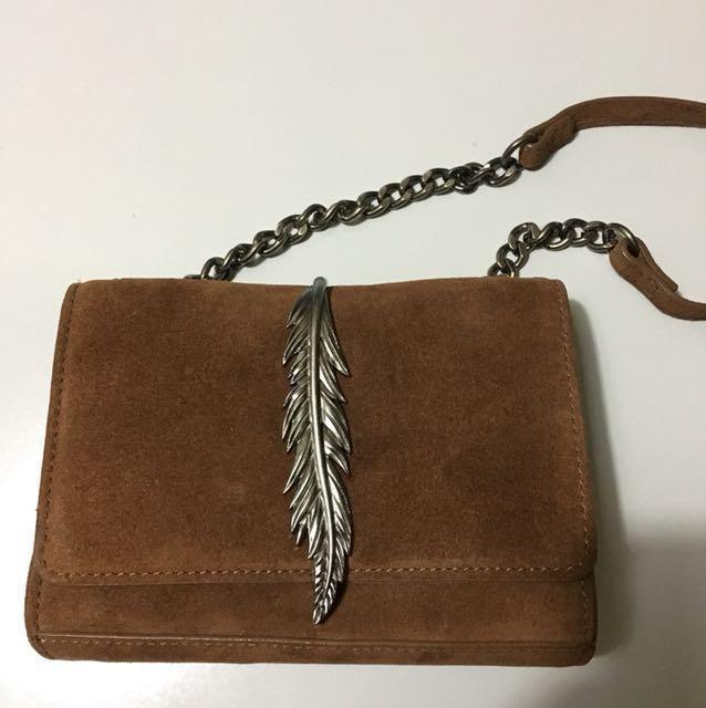 Zara sling bag (leaf detail)