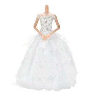 Barbie Doll White Gown Dinner Dress