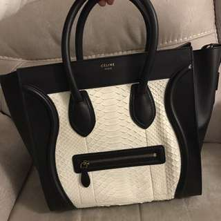 Celine calfskin leather with python leather body 100% real 90% new