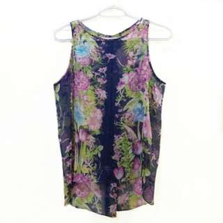 Sheer floral sleeveless top | S-M