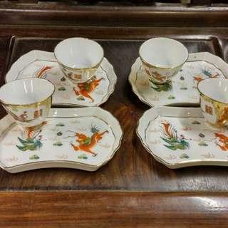 龍鳳茶盤連小杯 四套