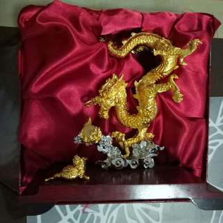 24k gold plated dragon and golden toad and crystal fireball (Limited Edition Dragon with Auspicious number) from RISIS