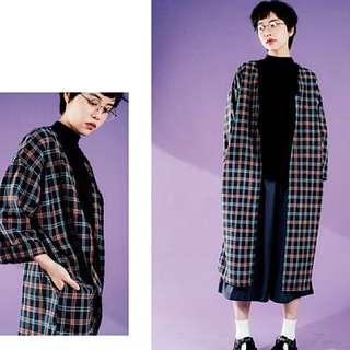 Korea ::: 韓國可愛配色格紋口袋長版外套
