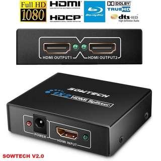 BN! Sowtech V2.0 Full HD 1080P 3D HDMI Splitter with Audio & HDCP - $12