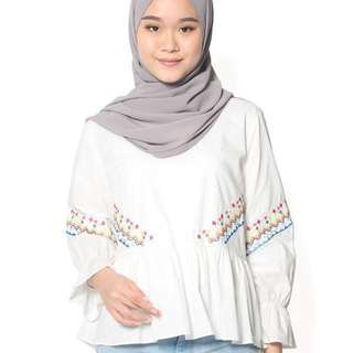 Ayu Apparels White Doll Embroidered Blouse
