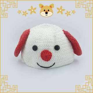 Topi Rajut Red and White Dog