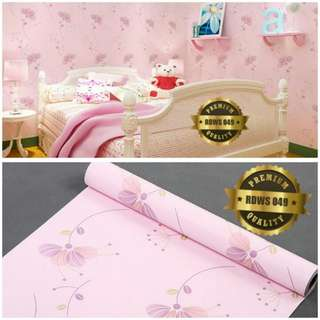 Wallpaper sticker pink bunga kipas 049