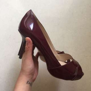 Charles & Keith Burgundy Open Toe Pumps