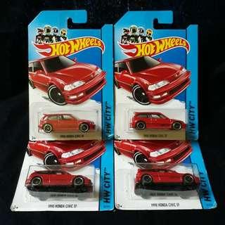 Hot Wheels 1990 Honda Civic EF Red VVHTF Rare