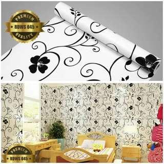 Wallpaper sticker putih batik hitam 045