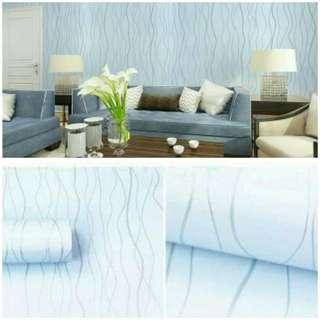 Wallpaper sticker garis gelombang biru