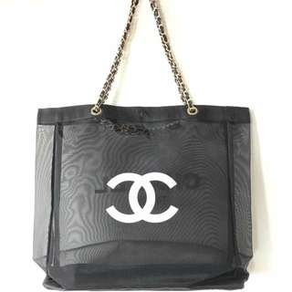 New chanel vip gift tote bag chain transparent GHW