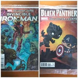 Funko Marvel Collector Corps Invincible Iron Man #1 Variant Cover Comic (October 2015 Villians Theme) Funko Marvel Collector Corps Black Panther #1 Variant Cover Comic (April 2016 Civil War Theme)