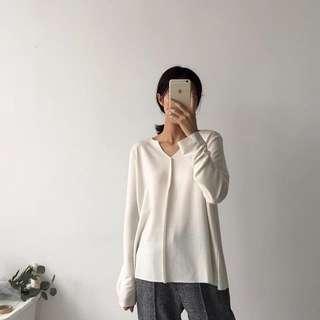 全新|小v領透膚長袖上衣
