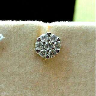 14k白金鑽石共33份耳環一對