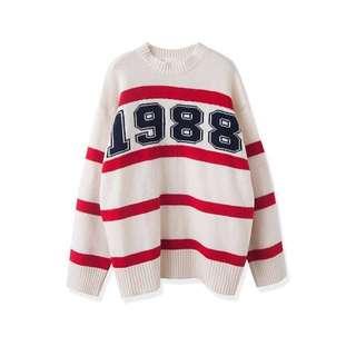 Sweater ::: 1988亮眼配色數字長袖針織毛衣