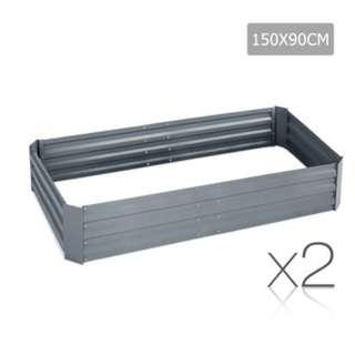 Galvanised Raised Garden Bed - 150x90x30 cm - Aluminium Grey SKU: GARDEN-GREY-FC2