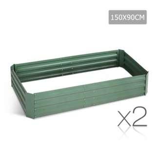 Galvanised Raised Garden Bed - 150x90x30cm - Aluminium Green SKU: GARDEN-GREEN-FC2