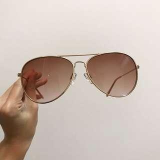 H&M Rose Gold/Pink Gradient Aviator Sunglasses