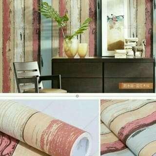 Wallpaper sticker kayu pink putih biru
