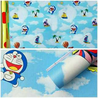Wallpaper sticker biru doraemon awan