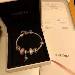 PANDORA bracelet (7 Charms + bracelet; Including box and polishing cloth)