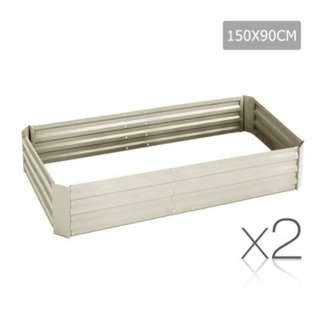 Galvanised Raised Garden Bed - 150x90x30cm - Aluminium Cream SKU: GARDEN-CREAM-FC2