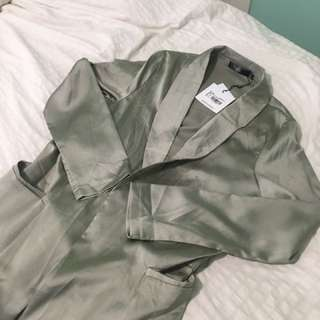 MISSGUIDED Olive Green Satin Duster Coat