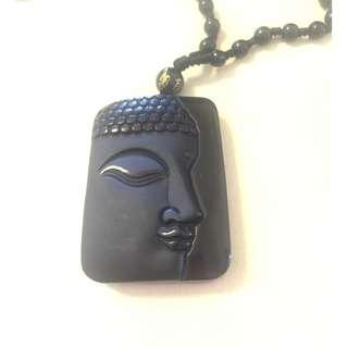 Pendant- Black Obsidian Buddha - 35 x 50 x 5mm, c/w chain