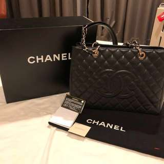 Authentic Chanel GST black caviar SHW