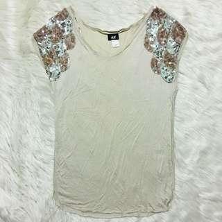 H&M sequined shoulder top
