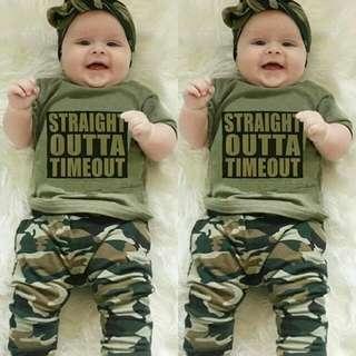(PO) Short Sleeve T-Shirt + Camouflage Pants 2 Pieces Set